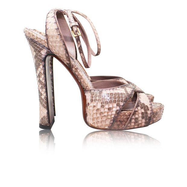 35611ce1d31 Blush Snake Skin Platform Sandals by LOUIS VUITTON