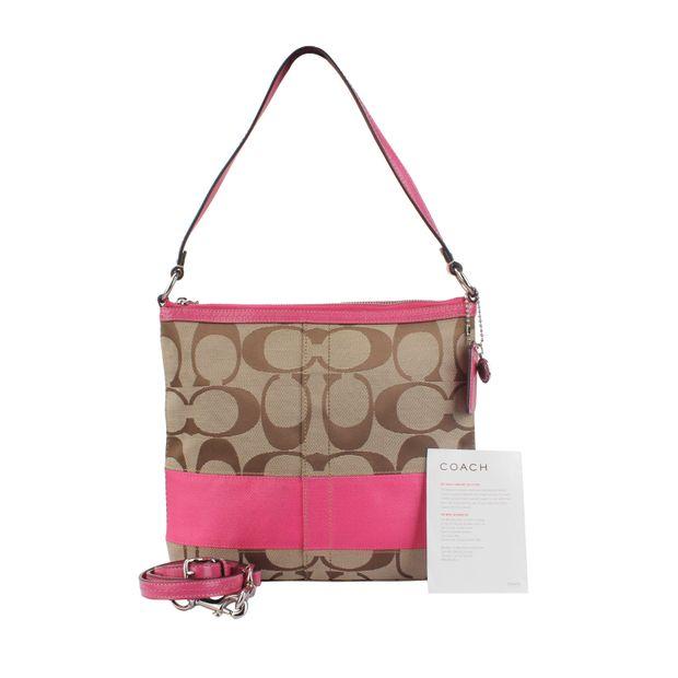 ca4c4e4e041a Coach Signature Crossbody Bag in Pink Stripe by COACH | StyleTribute.com
