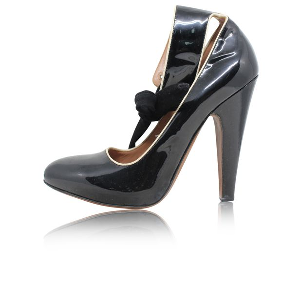 ALAIA Block Heel Pumps black patent leather For Sale at