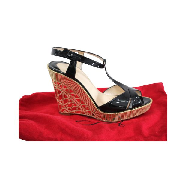 best cheap 75880 a6500 Black Patent And Gold Wedges
