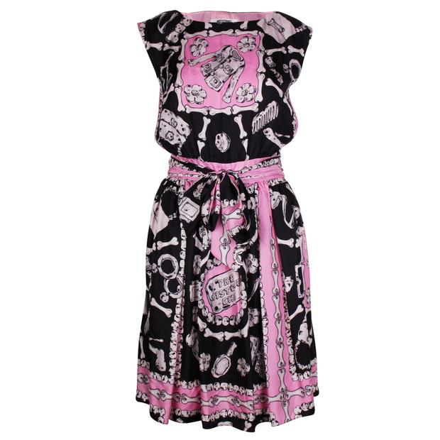 e225876ee67f Bones Print Silk Dress by MOSCHINO CHEAP AND CHIC | StyleTribute.com