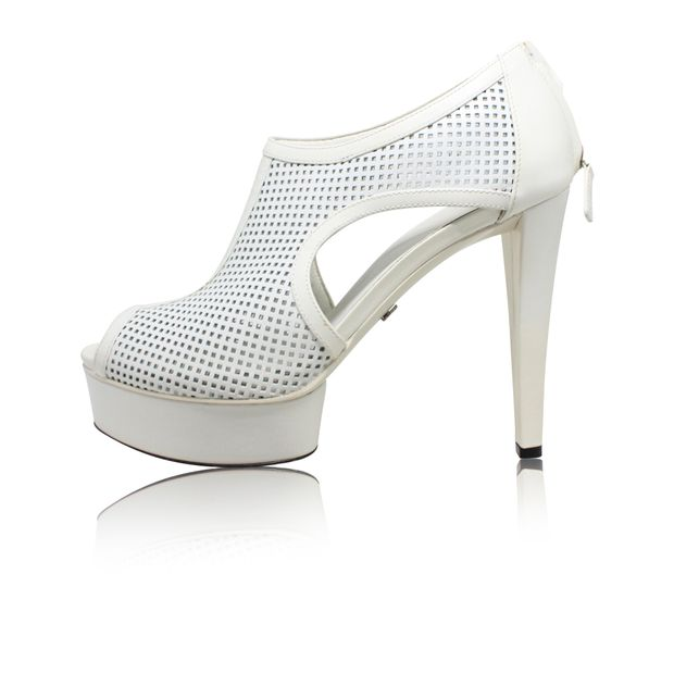 a35aee884420ee White Perforated Cut-Out Peep Toe Heels by GUCCI
