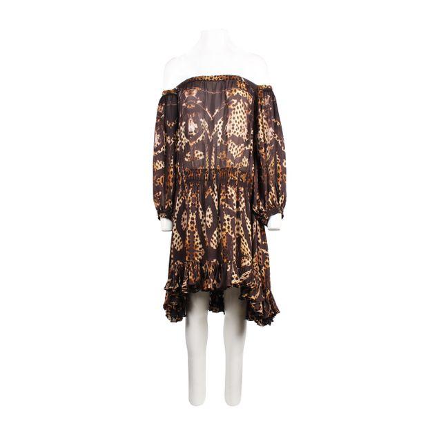 c875e4a1871 ROBERTO CAVALLI Off-Shoulder Animal Print Dress 4 thumbnail