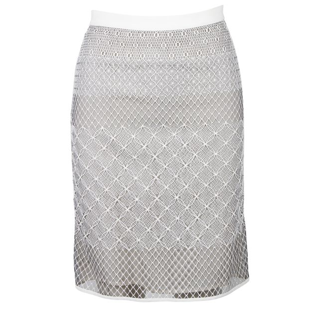 a67e4f0b0 White Lace Knit Skirt by DIOR | StyleTribute.com