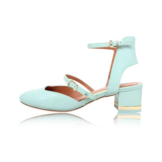 bf239db9ad3 MAX & CO Pastel Green Open Back Patent Leather Mid-Heel Pumps 0 thumbnail