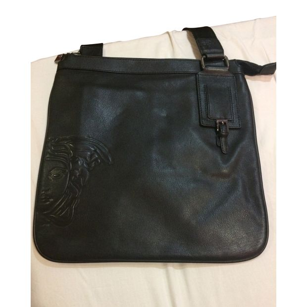 1f96a4ba2bf Black Leather Men's Sling Bag by VERSACE | StyleTribute.com