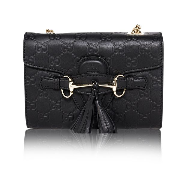 a34421b07b40 GUCCI Black Guccissima Leather Mini Emily Chain Shoulder Bag 0 thumbnail