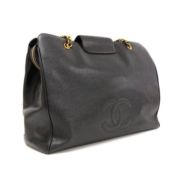 3eb89fdedd8a4c CHANEL Supermodel Black Caviar Leather Shoulder Tote Bag 3 thumbnail