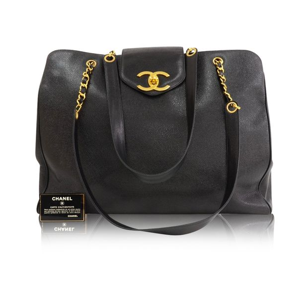 dd23f184f114 Supermodel Black Caviar Leather Shoulder Tote Bag by CHANEL ...