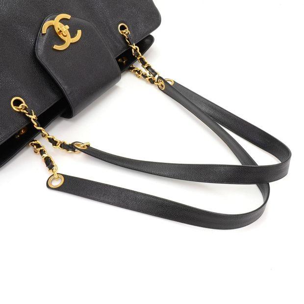 5d8c097c5d651e CHANEL Supermodel Black Caviar Leather Shoulder Tote Bag 12 thumbnail