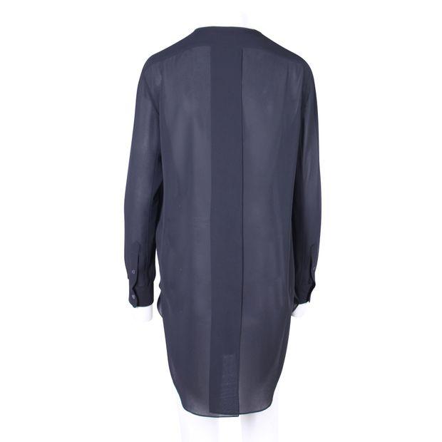 3bbf8cb83 ACNE STUDIOS Black Sheer Button Down Open Back Shirt Tunic 2 thumbnail