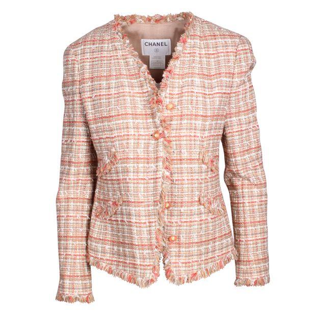 d8b52f4db82d Vintage Peach Tweed Jacket by CHANEL   StyleTribute.com