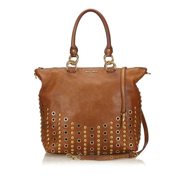 c230bf339086 2 Way Studded Leather Handbag by MIU MIU | StyleTribute.com