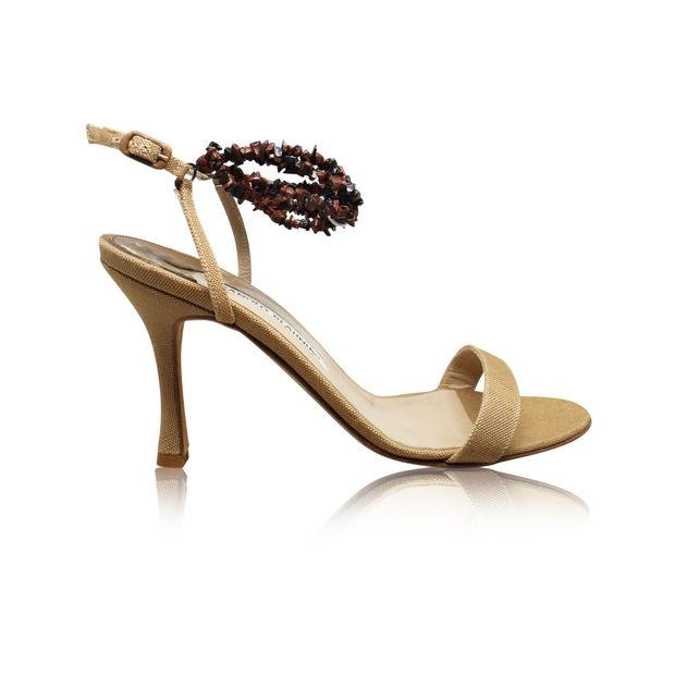166a25167a44 MANOLO BLAHNIK Beige Sandals With Brown Stones 0 thumbnail