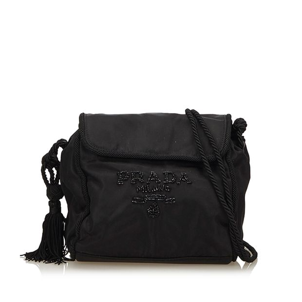 df468ee071 PRADA Beaded Nylon Crossbody Bag ...