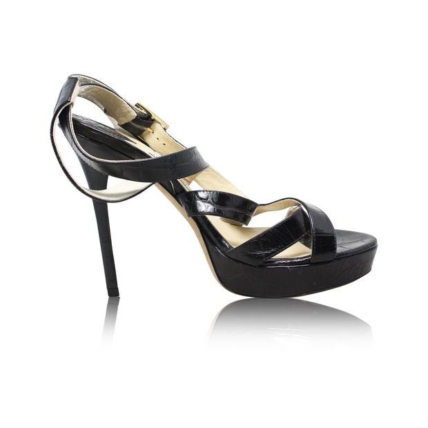 ecc0873ff29 Black Embossed Strappy Shoes by JIMMY CHOO