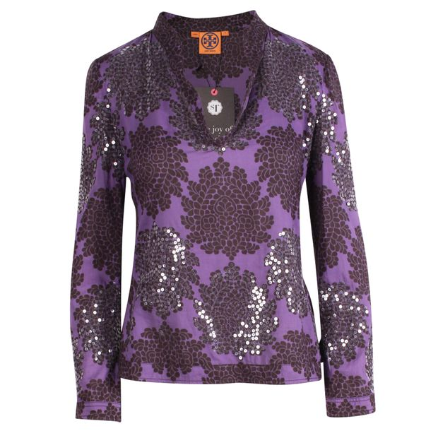 be4d2fb0db93 Bohemian Purple Blouse with Sequin by TORY BURCH | StyleTribute.com