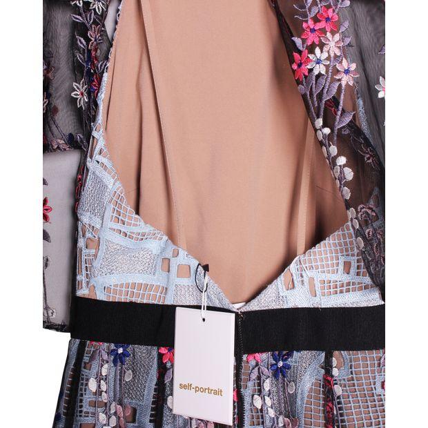 723c437770b7 SELF-PORTRAIT Floral Vine' embroidered lace cape midi dress 2 thumbnail