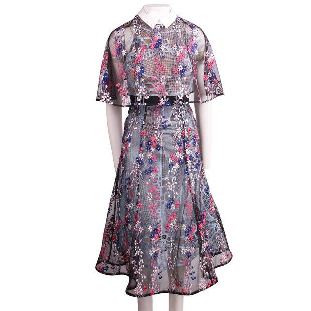 5c3ef2eb46b3 SELF-PORTRAIT Floral Vine' embroidered lace cape midi dress 1 thumbnail