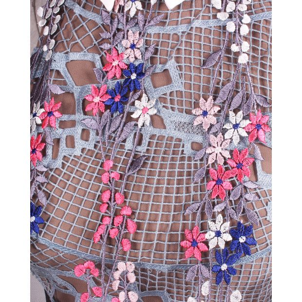 37be79a7ef40 SELF-PORTRAIT Floral Vine' embroidered lace cape midi dress 4 thumbnail