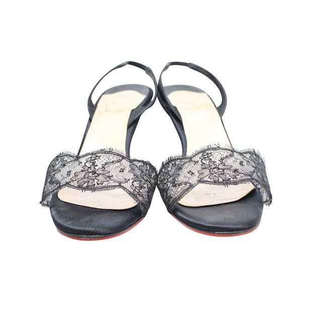 quality design 01a5a ef6ba Black Lace Slingback Sandals