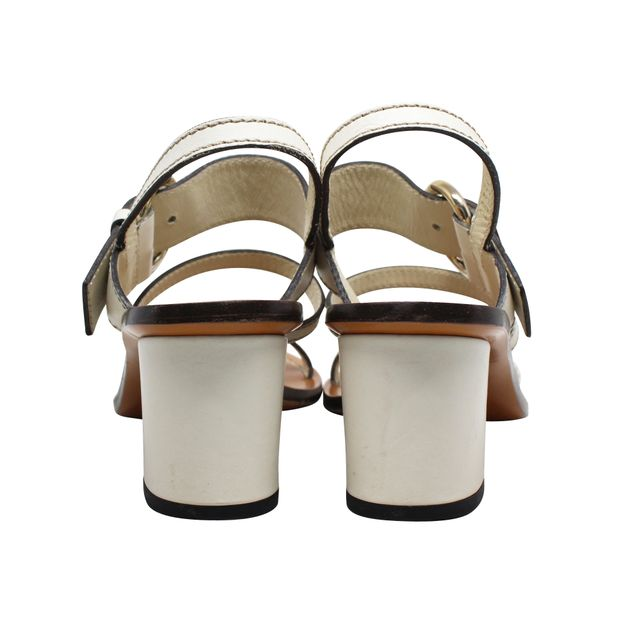 44b75f33abd GUCCI White Leather Bamboo Buckle Block Heel Sandals 3 thumbnail