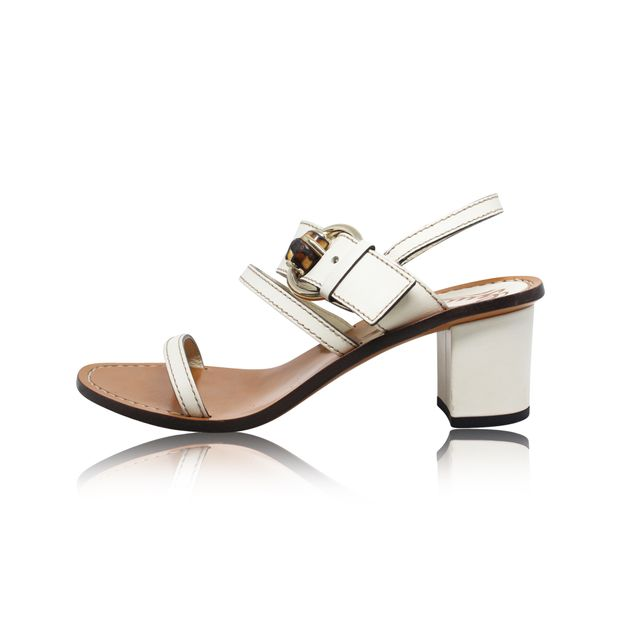 e54c13c20aa GUCCI White Leather Bamboo Buckle Block Heel Sandals 0 thumbnail