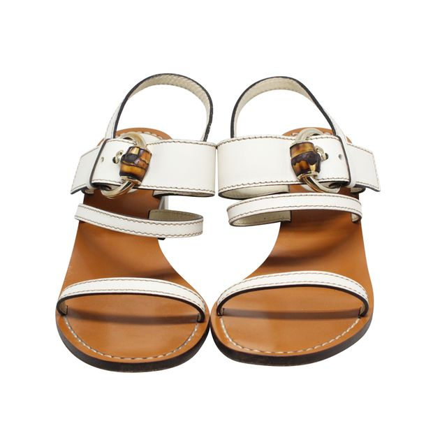 127b2fb59c5 GUCCI White Leather Bamboo Buckle Block Heel Sandals 1 thumbnail
