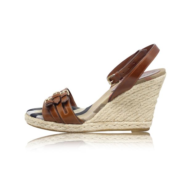 65a27e14ef5 Brown Leather Belted Sling Back Espadrille Wedges