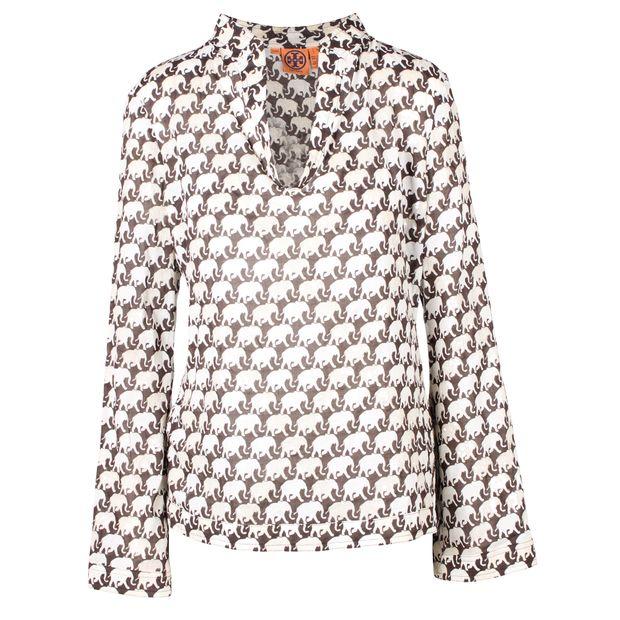 7f48efb1c2e5 Elephant Sequin Detail Print Mandarin Collar Tunic Top by TORY BURCH ...