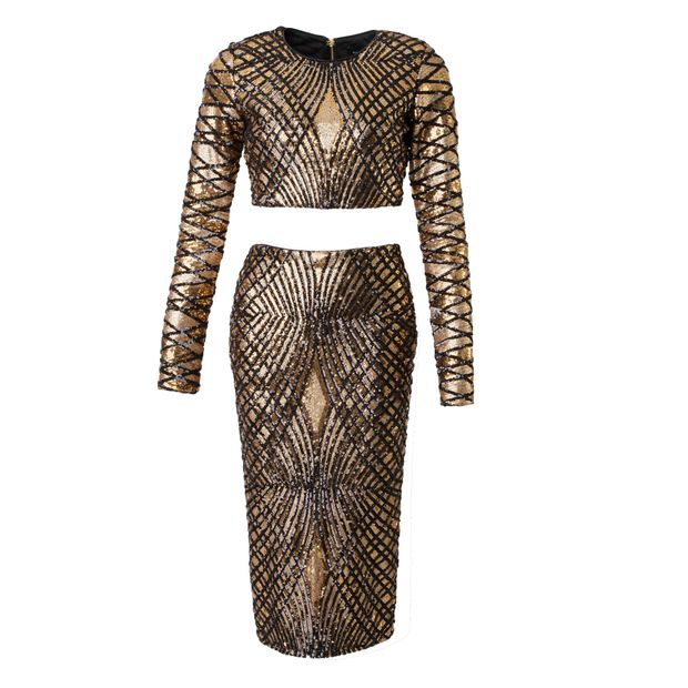 956b7af7 GUESS Guess by Marciano Gold and Black Striped Sequin Crop Top and Skirt ...