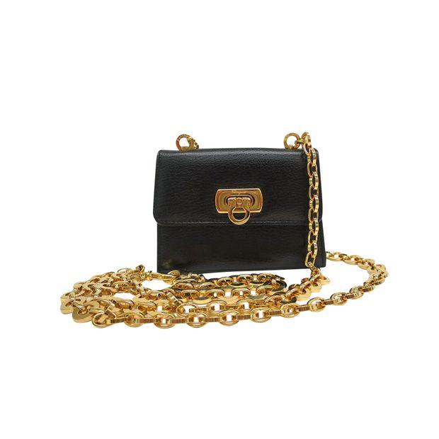 c1955eed5099 Black Calf Leather Mini Gancini Pochette Bag by SALVATORE FERRAGAMO ...