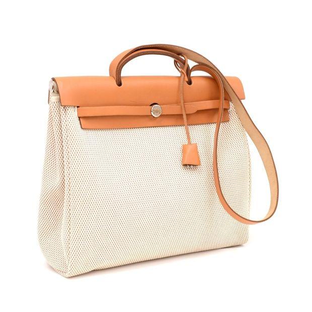 720056e02f Herbag MM 2 in 1 Beige Canvas Brown Leather Shoulder Bag by HERMÈS ...