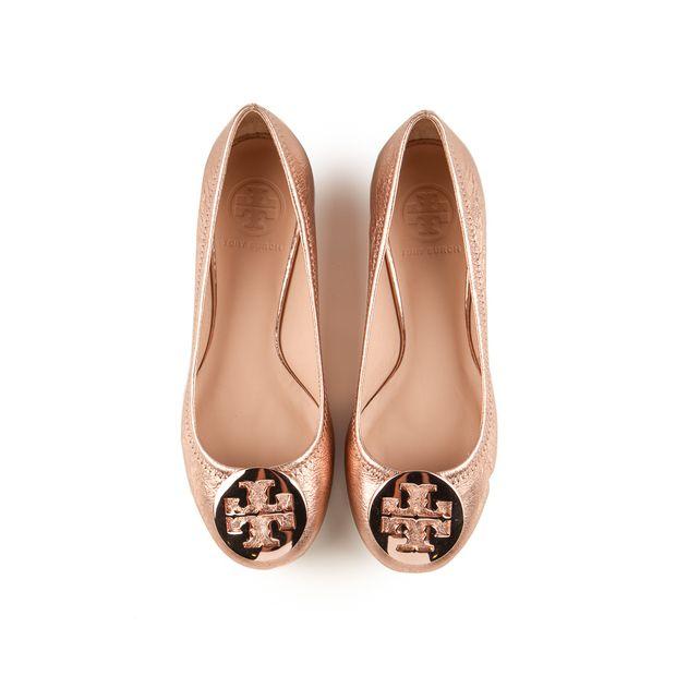 d4ee63dc8d2844 TORY BURCH Rose Gold Vulcano Reva Ballet Flats 1 thumbnail