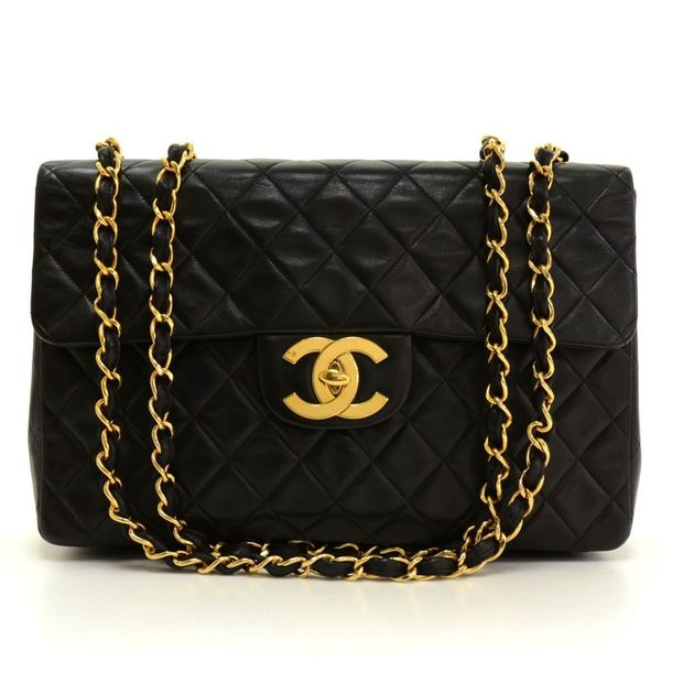 79fd8db43229 Maxi Jumbo Black Quilted Leather Shoulder Flap Bag by CHANEL ...