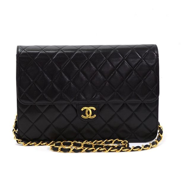 a0b492c5c40c Classic Black Quilted Leather Shoulder Flap Bag Ex by CHANEL ...