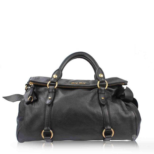 b289de342ddc Vitello Lux Bow Bag in Black by MIU MIU