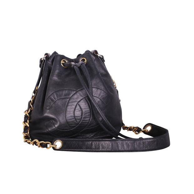 f098f22383aa Vintage Black Lambskin Mini Drawstring Bucket Bag by CHANEL ...