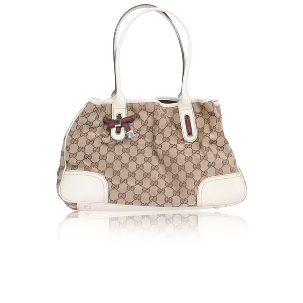 9b3d1f7ed Monogram Brown Fabric Tote Bag by GUCCI | StyleTribute.com