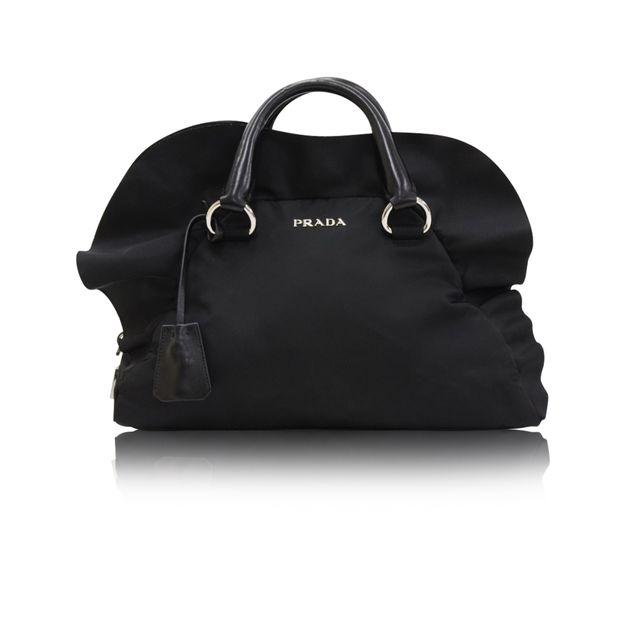 fa755353e9 Ruffle Bauletto Black Nylon Hand Bag by PRADA