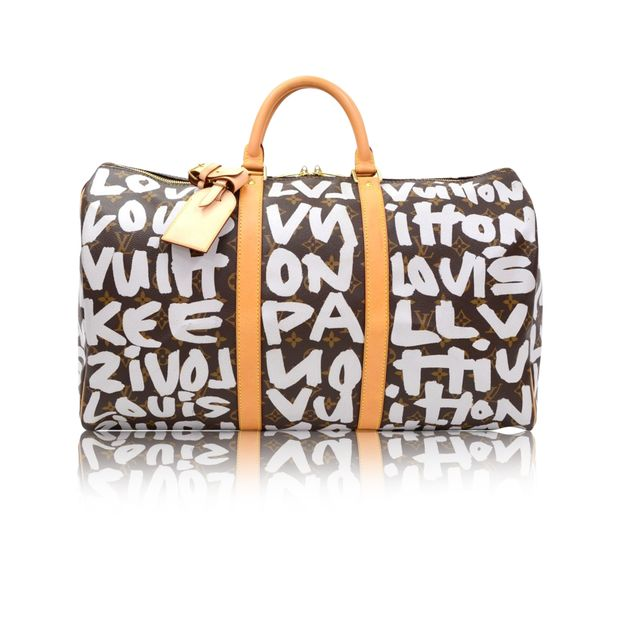 c5b043d96d1 LOUIS VUITTON Keepall 50 Gray Graffiti Monogram Canvas Duffle Travel Bag -  2001 Limited ...