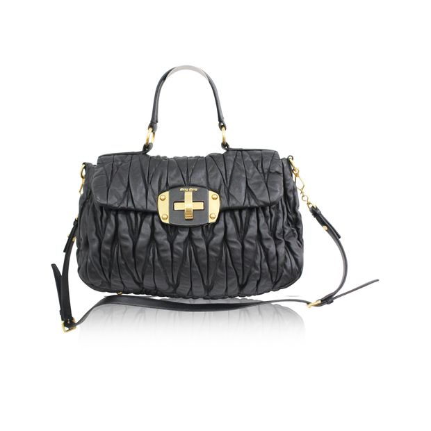 dc7424a48d8 Matelasse Black Leather Bag by MIU MIU | StyleTribute.com