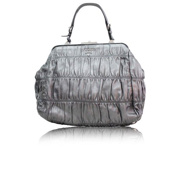 f50f5a78dc59 Metalic Silver Leather Ruffle Bag by PRADA