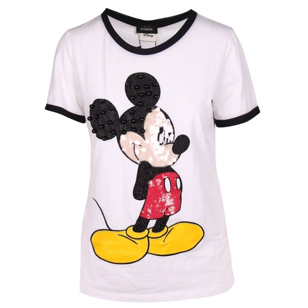 a42cdc3a5f White Tshirt with Sequined Mickey Mouse by PINKO | StyleTribute.com