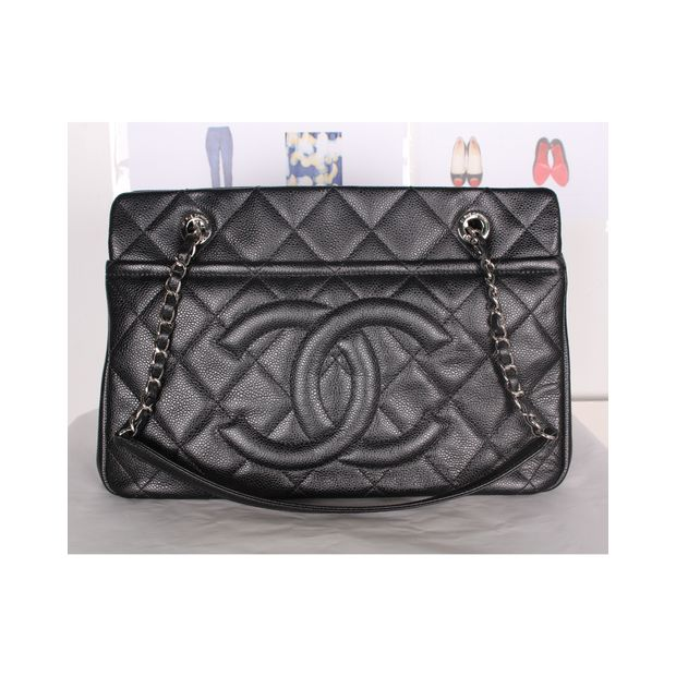 576741655335f9 CHANEL Black Caviar Timeless Tote GST Grand Shopping Bag GHW 1 thumbnail