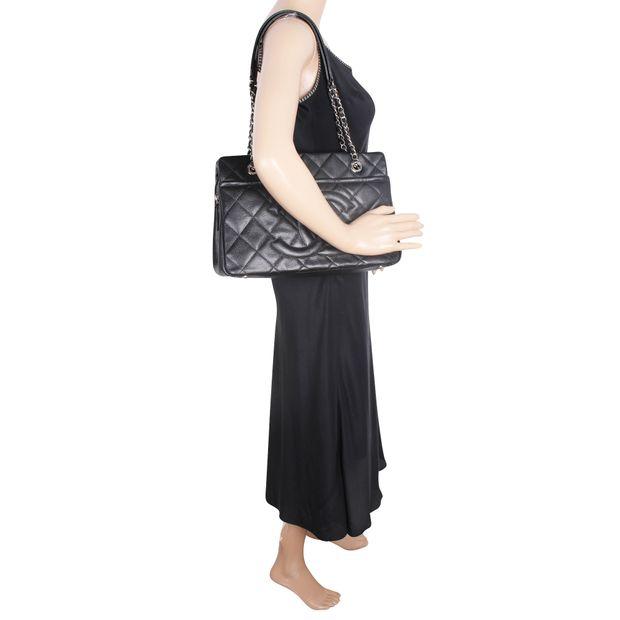 f76b33d2fd5848 CHANEL Black Caviar Timeless Tote GST Grand Shopping Bag GHW 6 thumbnail