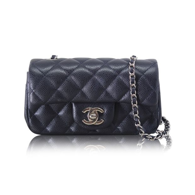 17d5be40b982 Black Classic Extra Mini Flap Bag With Silver Hardware by CHANEL ...