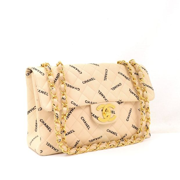 75cf09411211c0 CHANEL Maxi Jumbo Beige x Black Quilted Canvas Cotton Shoulder Flap Bag ...