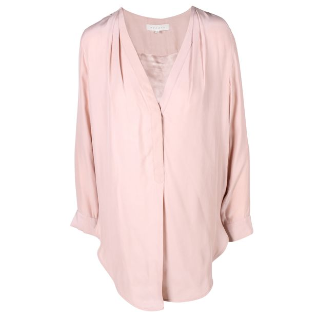 44000aaa4ed3b Dusty Pink V-Neck Silk Blouse With Pleat Detail by SANDRO ...