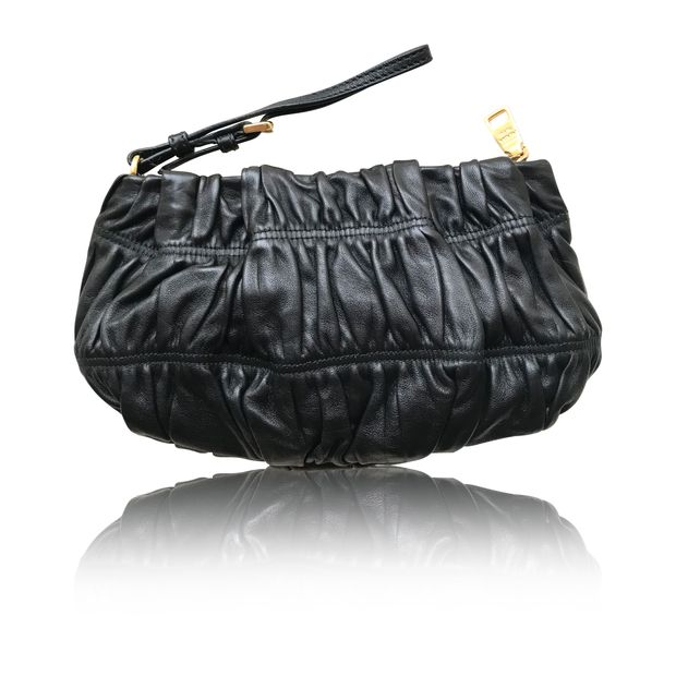 2d66ad40efc6 Nappa Gaufre Leather Wristlet by PRADA | StyleTribute.com